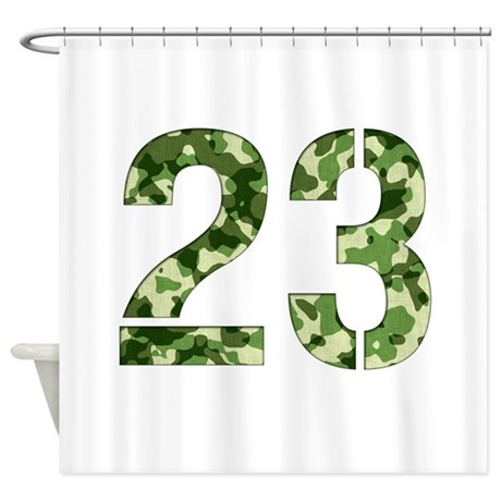 Number 23 Camo Shower Curtain By Thecafemarket