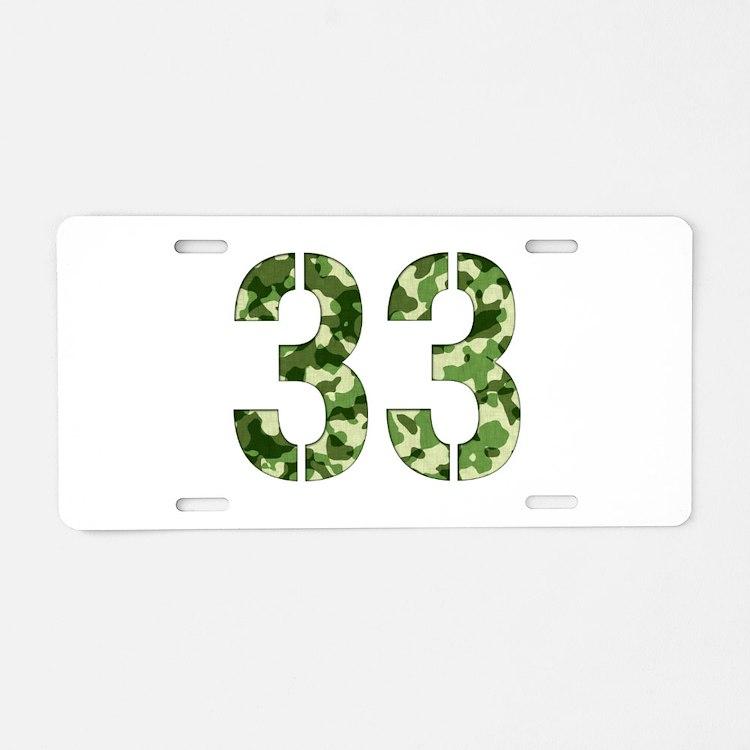 Number 33, Camo Aluminum License Plate