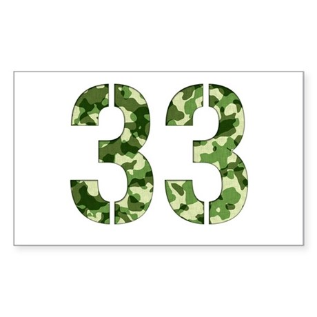 Number 33, Camo Sticker (Rectangle)