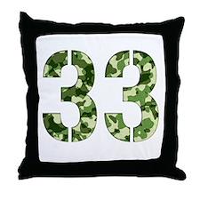 Number 33, Camo Throw Pillow