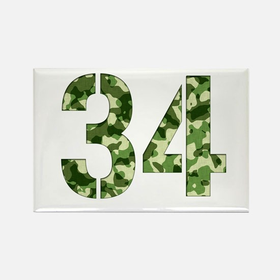 Number 34, Camo Rectangle Magnet
