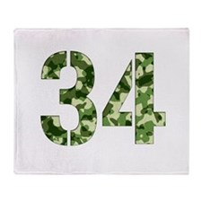 Number 34, Camo Throw Blanket