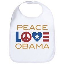 Peace, Love, Obama Bib