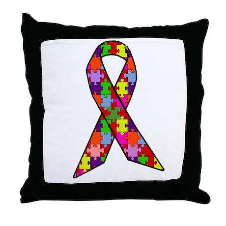 Autism Awareness Ribbon Throw Pillow