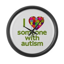 I Love Someone with Autism Large Wall Clock
