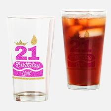 Cute 21st birthday princess Drinking Glass