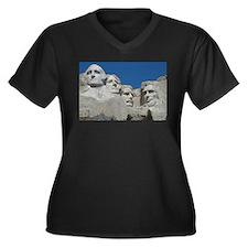 Mount Rushmore Women's Plus Size V-Neck Dark T-Shi