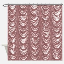 Pink Scalloped Satin Shower Curtain