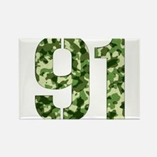 Number 91, Camo Rectangle Magnet