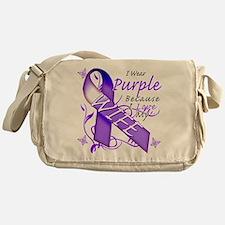 I Wear Purple I Love My Wife Messenger Bag