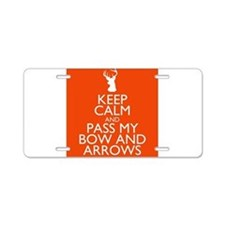 pass my bow and arrows orange Aluminum License Pla