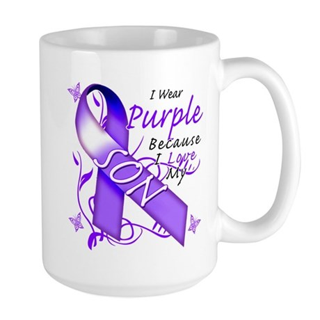 I Wear Purple I Love My Son Large Mug