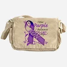 I Wear Purple I Love My Son Messenger Bag