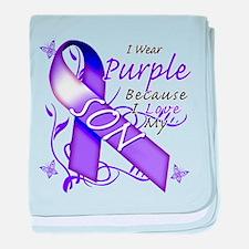 I Wear Purple I Love My Son baby blanket