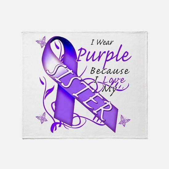 I Wear Purple I Love My Siste Throw Blanket