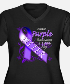 I Wear Purple I Love My Siste Women's Plus Size V-