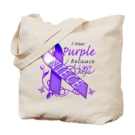 I Wear Purple I Love My Niece Tote Bag