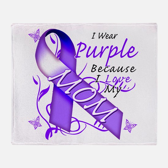 I Wear Purple I Love My Mom Throw Blanket