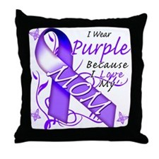 I Wear Purple I Love My Mom Throw Pillow