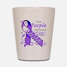 I Wear Purple I Love My Mom Shot Glass