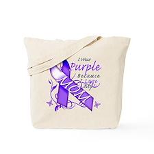 I Wear Purple I Love My Mom Tote Bag