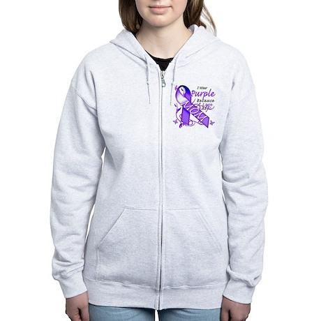 I Wear Purple I Love My Mom Women's Zip Hoodie