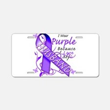 I Wear Purple I Love My Husba Aluminum License Pla