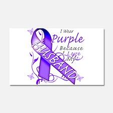 I Wear Purple I Love My Husba Car Magnet 20 x 12