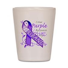 I Wear Purple I Love My Husba Shot Glass