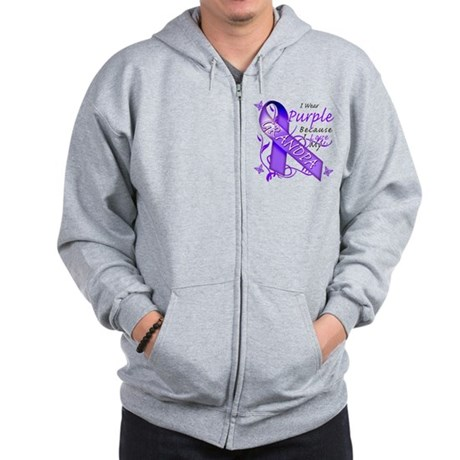 I Wear Purple I Love My Grand Zip Hoodie