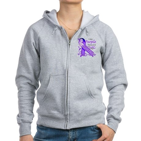 I Wear Purple I Love My Daugh Women's Zip Hoodie