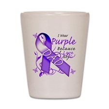 I Wear Purple I Love My Dad Shot Glass