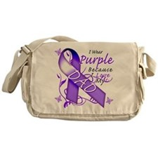 I Wear Purple I Love My Dad Messenger Bag