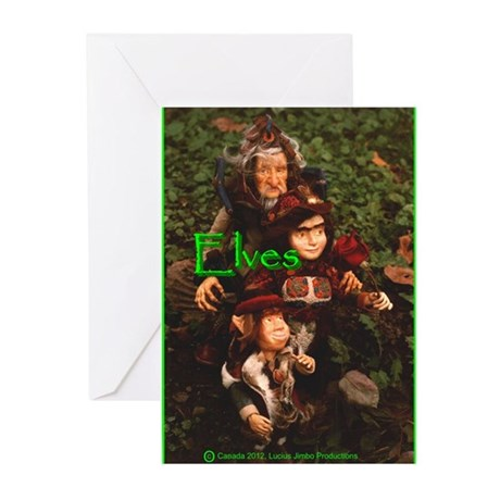 Elves: bright green text Greeting Cards (Pk of 10)