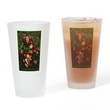 Elves: bright green text Drinking Glass
