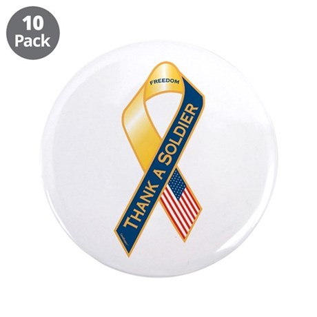 """Thank A Soldier 3.5"""" Button (10 pack)"""