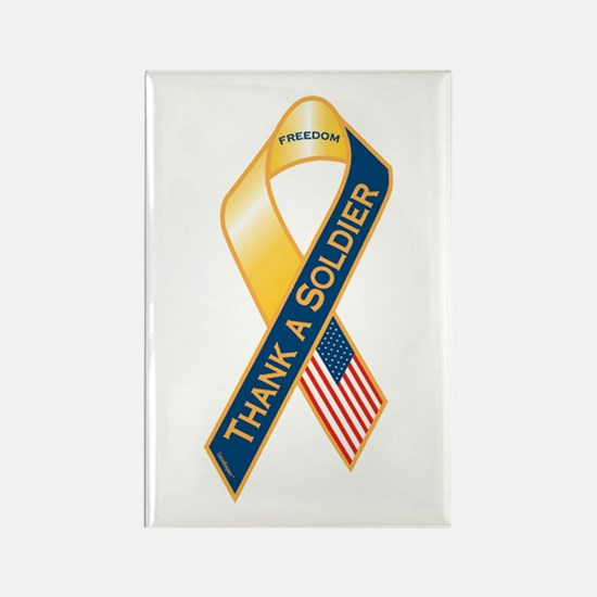 Thank A Soldier Ribbon Rectangle Magnet