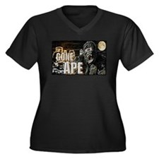 gone ape Women's Plus Size V-Neck Dark T-Shirt