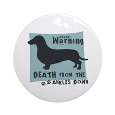 Doxie Warning Ornament (Round)