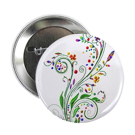 """curly flowers 2.25"""" Button (100 pack)"""