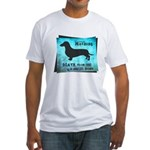 Grunge Doxie Warning Fitted T-Shirt