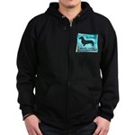 Grunge Doxie Warning Zip Hoodie (dark)