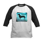 Grunge Doxie Warning Kids Baseball Jersey