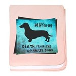 Grunge Doxie Warning baby blanket