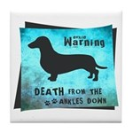 Grunge Doxie Warning Tile Coaster