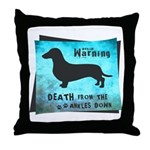 Grunge Doxie Warning Throw Pillow