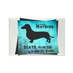 Grunge Doxie Warning Rectangle Magnet (10 pack)