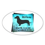 Grunge Doxie Warning Sticker (Oval)