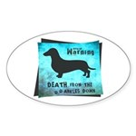 Grunge Doxie Warning Sticker (Oval 10 pk)