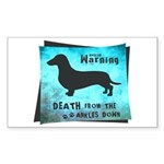 Grunge Doxie Warning Sticker (Rectangle 10 pk)